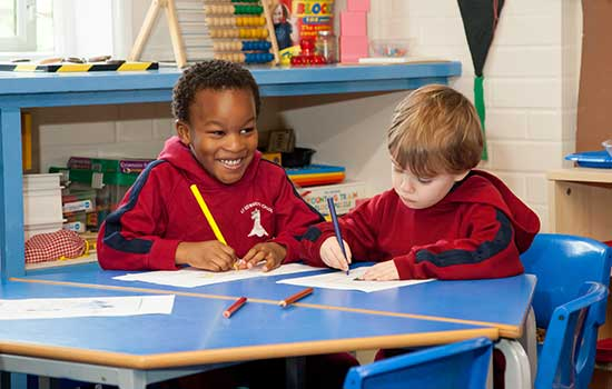 Pre-Reception children writing
