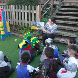 Reception enjoying books and Drama